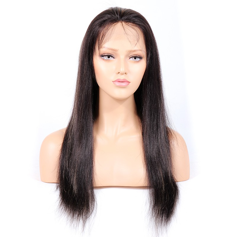 #1B/27 Highlight Color Glueless Full Lace Wigs Indian Virgin Hair Light Yaki 0