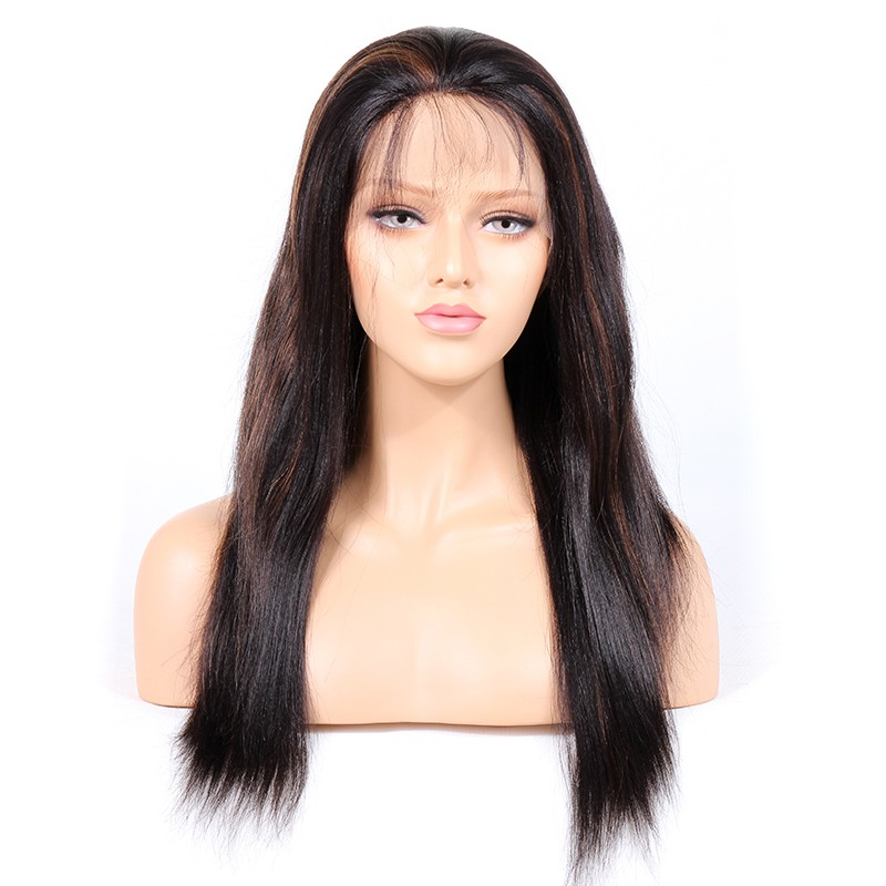 #1B/30 Highlight Color Full Lace Wigs Indian Virgin Hair Light Yaki