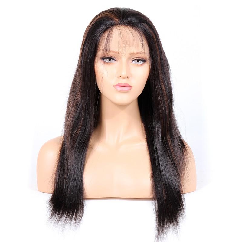 #1B/30 Highlight Color Glueless Full Lace Wigs Indian Virgin Hair Light Yaki 0