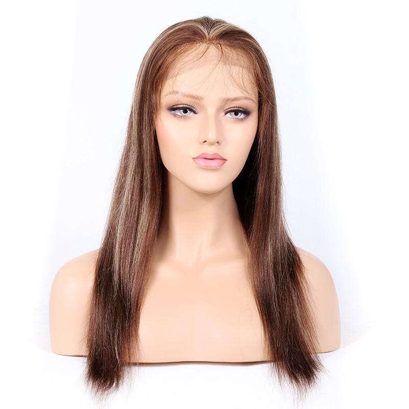 #4/27 Highlight Color Glueless Full Lace Wigs Indian Virgin Hair Light Yaki 0