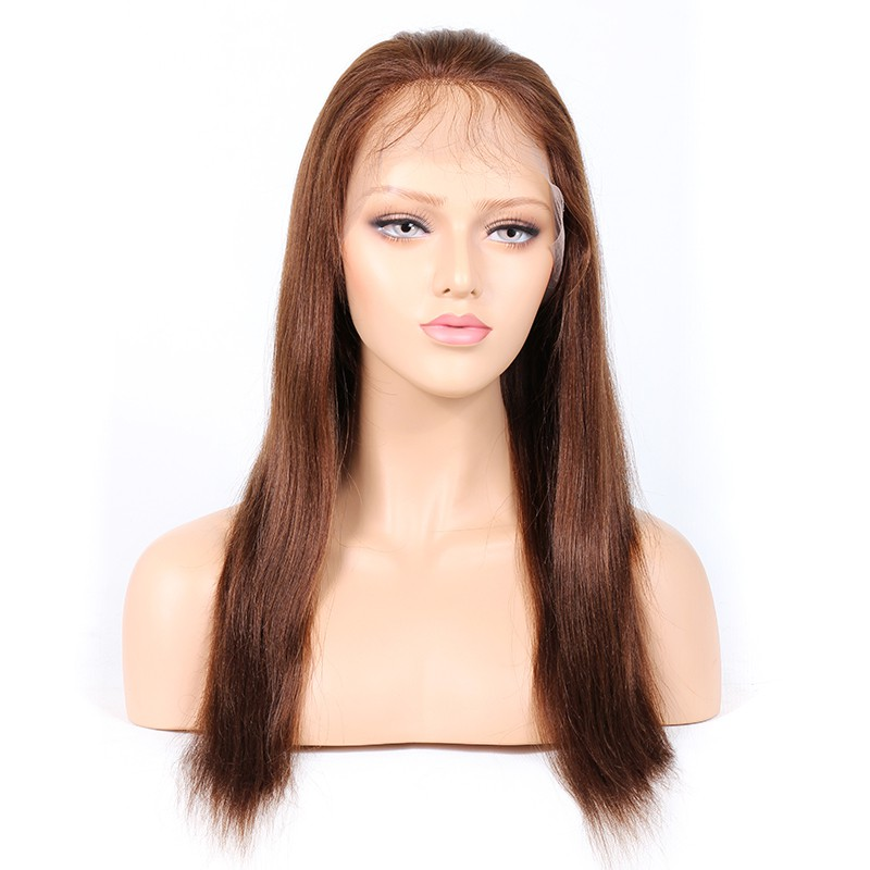 #4/30 Highlight Color Lace Front Wigs Indian Remy Hair Yaki Straight