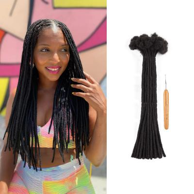 0.6cm Thickness Permanent Dread Extensions Human Hair Dreadlocks 20 Locs #1B Natural Black
