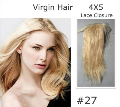 "10""-20"" Brazilian Virgin Hair Straight Lace Closure(4""*5"") Free Style #27 Strawberry Blonde"