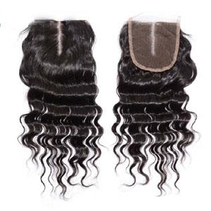 """10""""-20"""" Middle Part Brazilian Virgin Hair Deep Wave Lace Closure(4""""*4"""") Natural Color"""