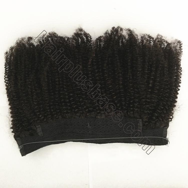 10 - 24 Inch Halo Hair Extensions #1B Natural Black Kinky Curly 2