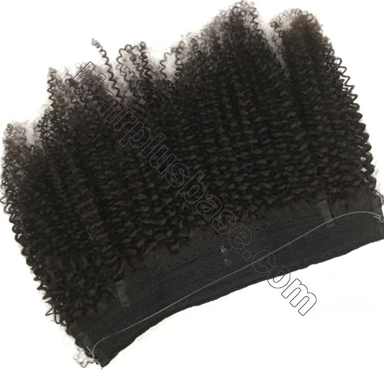 10 - 24 Inch Halo Hair Extensions #1B Natural Black Kinky Curly 3