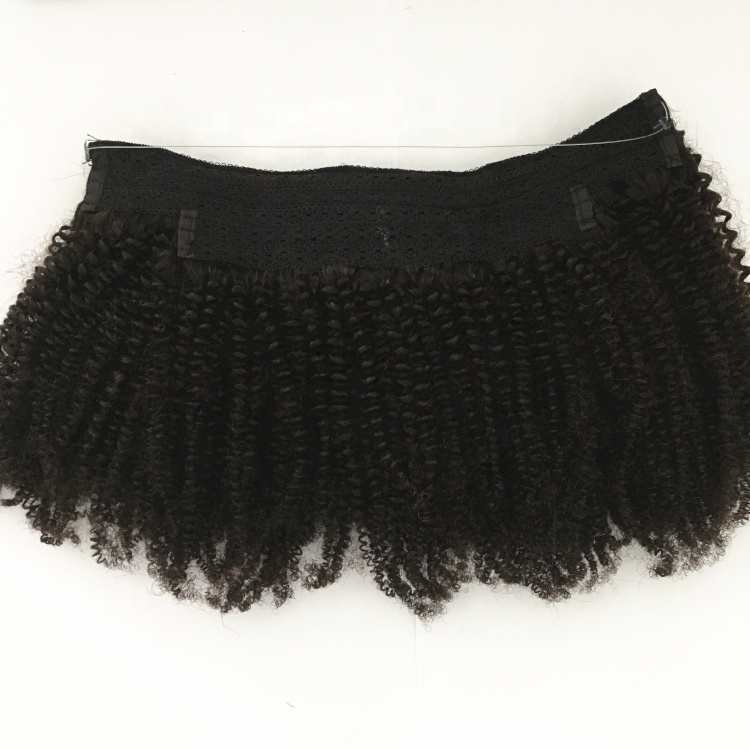 10 - 24 Inch Halo Hair Extensions #1B Natural Black Kinky Curly 7