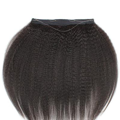 10 - 24 Inch Halo Human Hair Extensions #1B Natural Black Kinky Straight