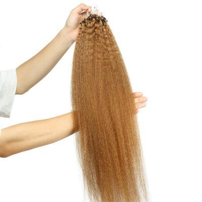 10 - 28 Inch Yaki Kinky Straight Micro Loop Human Hair Extensions #27 100S