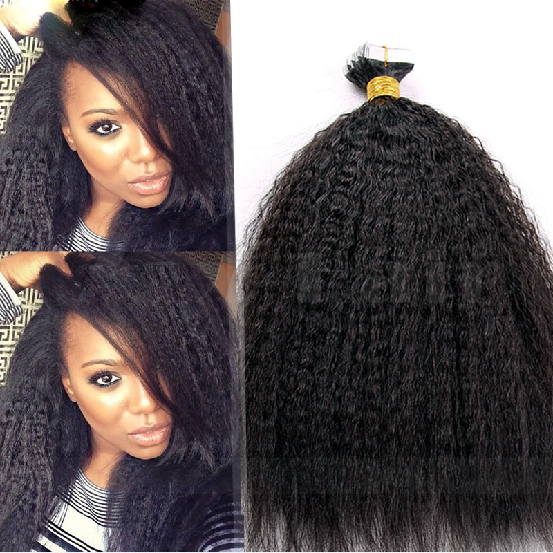 10 - 30 Inch Brazilian Remy Tape In Hair Extensions #1B Natural Black Kinky Straight 20 Pcs 1