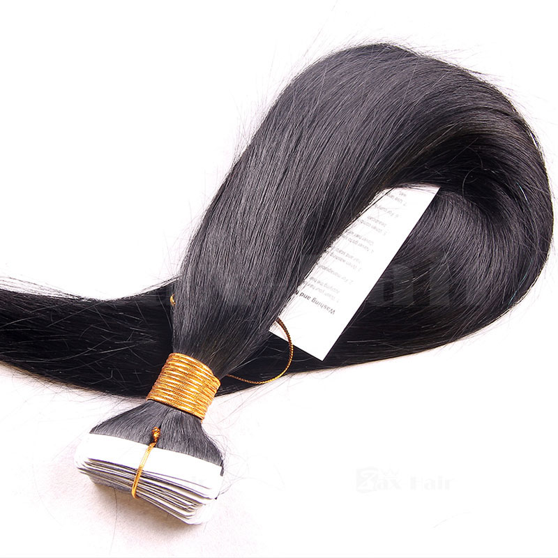 10 - 30 Inch Brazilian Remy Tape  In Hair Extensions #1B Natural Black Straight 20 Pcs
