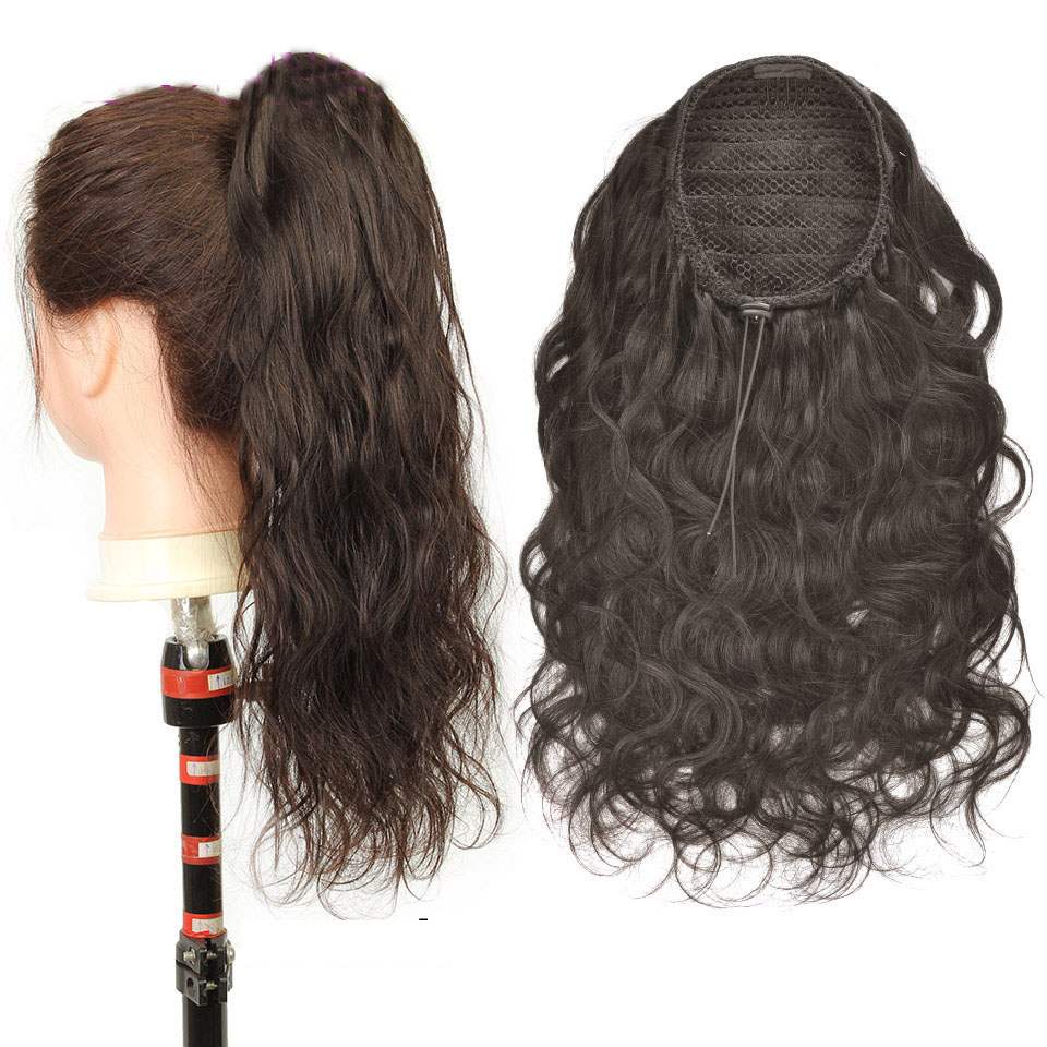10  - 30 Inch Curly Human Hair Ponytail Drawstring Ponytail Extensions #2 Dark Brown