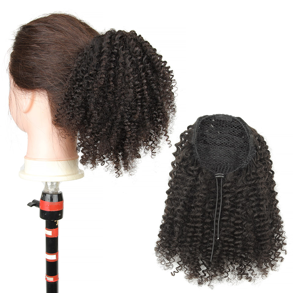 10  - 30 Inch Kinky Curly Human Hair Ponytail Drawstring Ponytail Extensions #1B Natural Black
