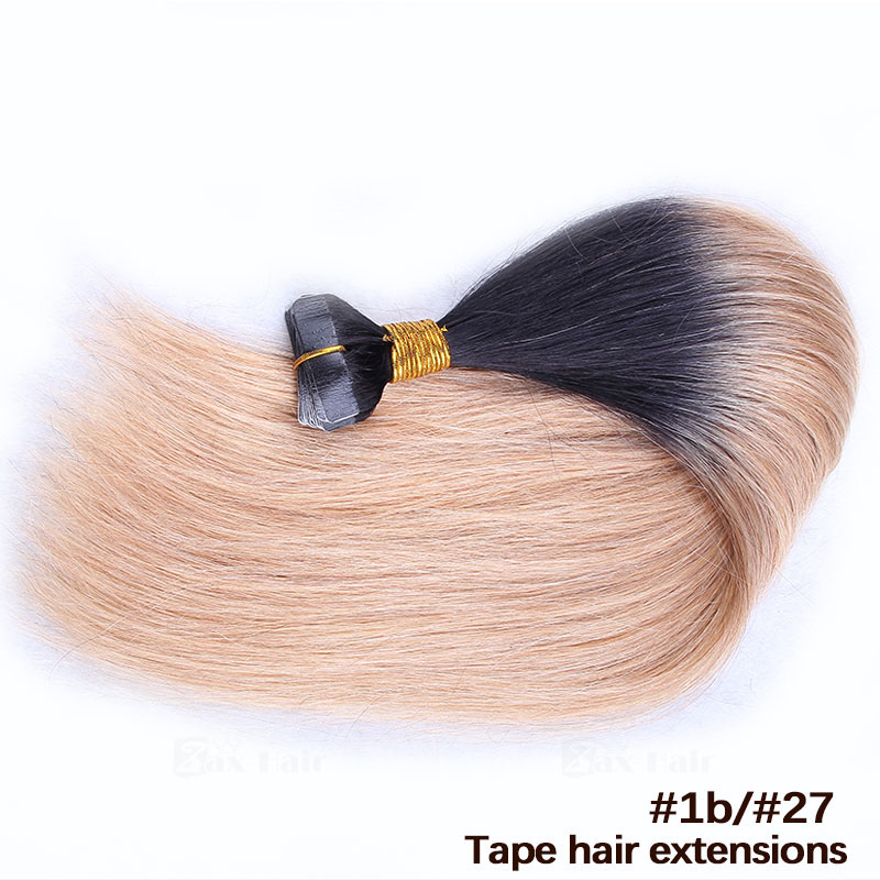 10 - 30 Inch Ombre Tape In Remy Human Hair Extensions Two Tone #1B/#27 Straight 20 Pcs 1