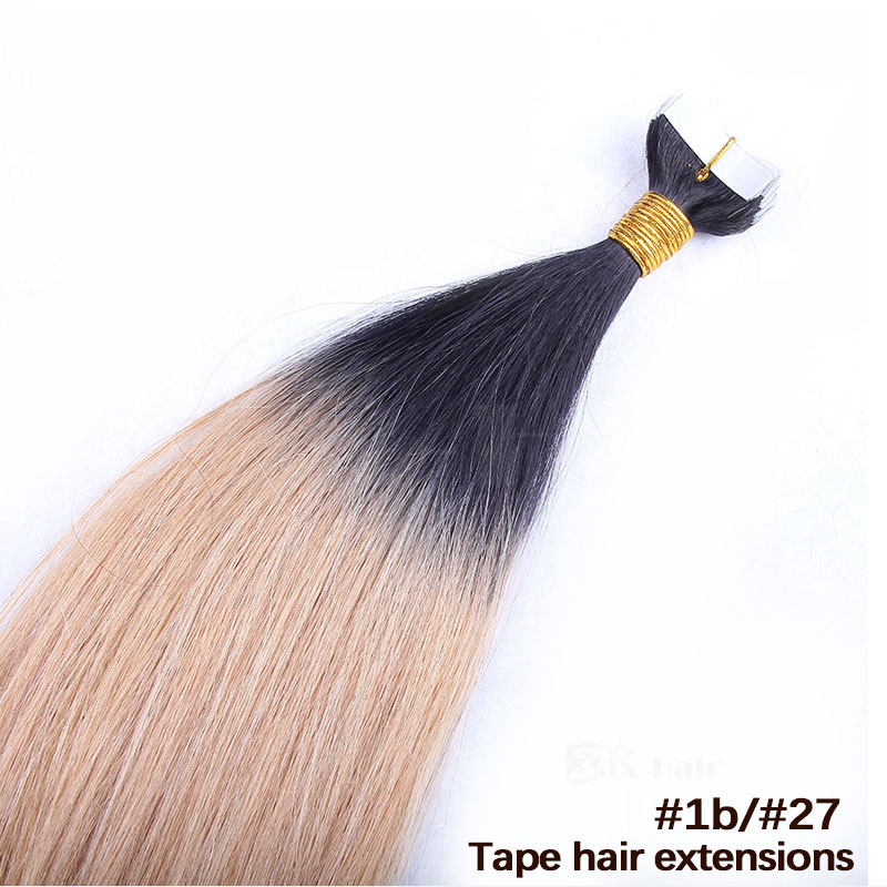 10 - 30 Inch Ombre Tape In Remy Human Hair Extensions Two Tone #1B/#27 Straight 20 Pcs 2