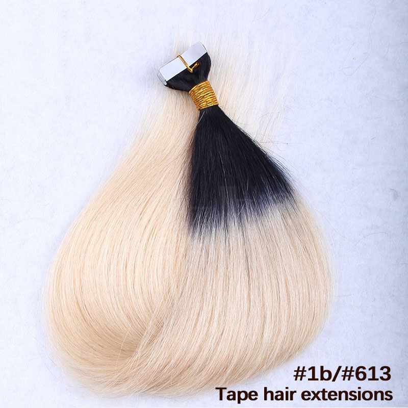 10 - 30 Inch Ombre Tape In Remy Human Hair Extensions Two Tone #1B/#27 Straight 20 Pcs 4
