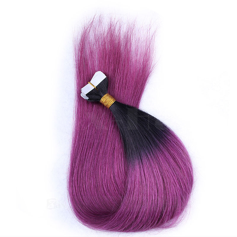 10 - 30 Inch Ombre Tape In Remy Human Hair Extensions Two Tone #1B/Purple Straight 20 Pcs 0