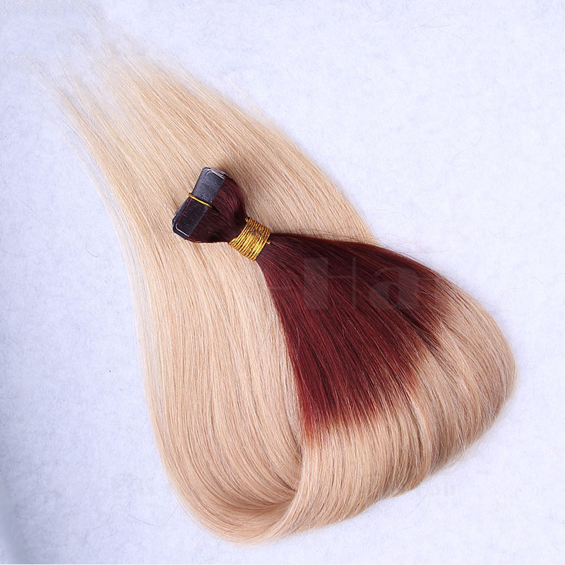 10 - 30 Inch Ombre Tape In Remy Human Hair Extensions Two Tone #30/22 Straight 20 Pcs