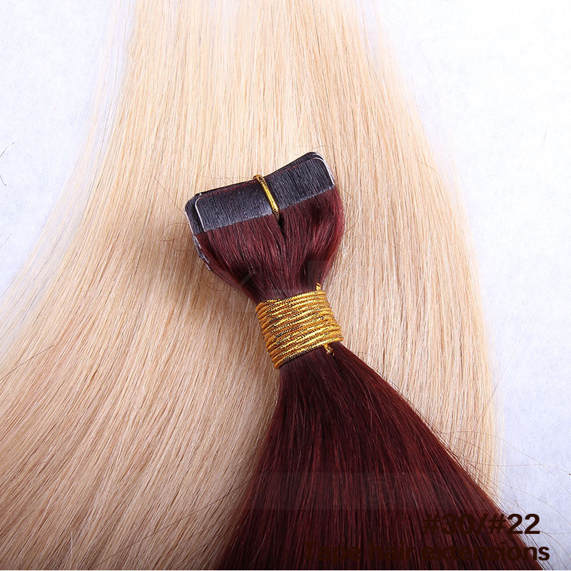 10 - 30 Inch Ombre Tape In Remy Human Hair Extensions Two Tone #30/22 Straight 20 Pcs 1