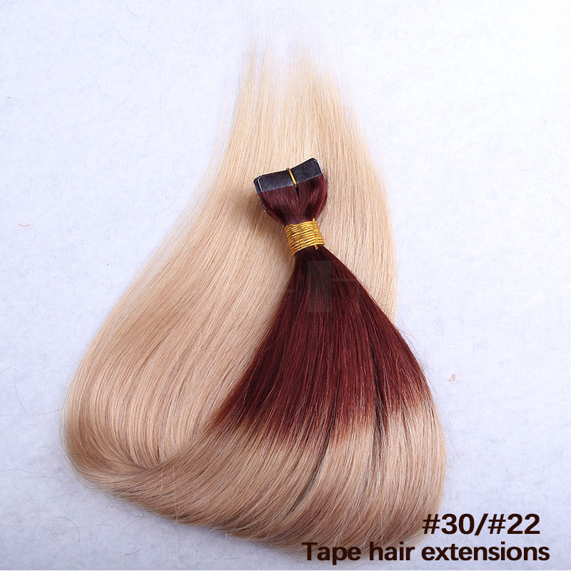 10 - 30 Inch Ombre Tape In Remy Human Hair Extensions Two Tone #30/22 Straight 20 Pcs 2