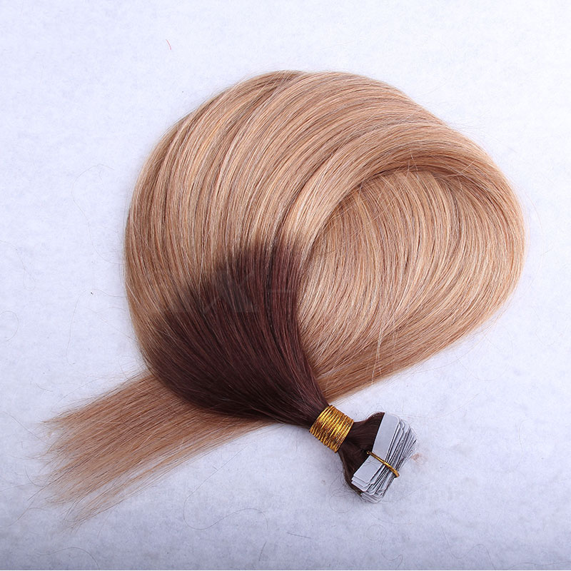 10 - 30 Inch Ombre Tape In Remy Human Hair Extensions Two Tone #4/27 Straight 20 Pcs