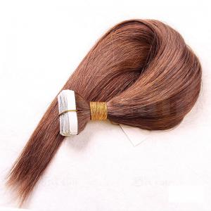 10 - 30 Inch Tape In Human Hair Extensions #6 Light Brown Straight 20 Pcs 0