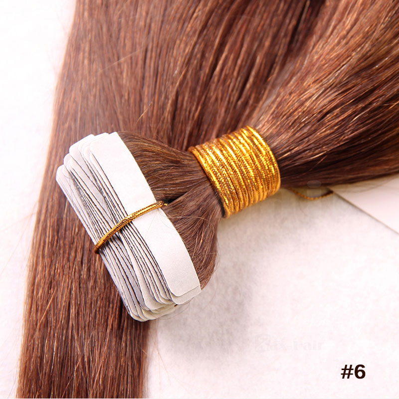 10 - 30 Inch Tape In Human Hair Extensions #6 Light Brown Straight 20 Pcs 1
