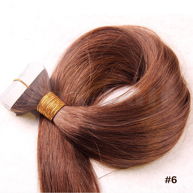 10 - 30 Inch Tape In Human Hair Extensions #6 Light Brown Straight 20 Pcs 2