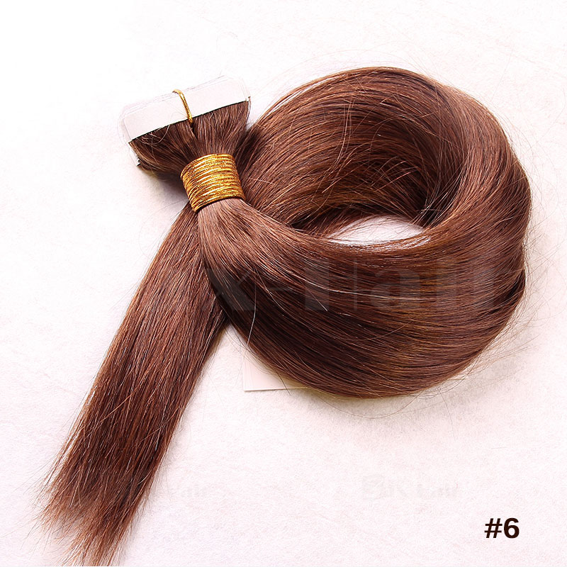 10 - 30 Inch Tape In Human Hair Extensions #6 Light Brown Straight 20 Pcs 4