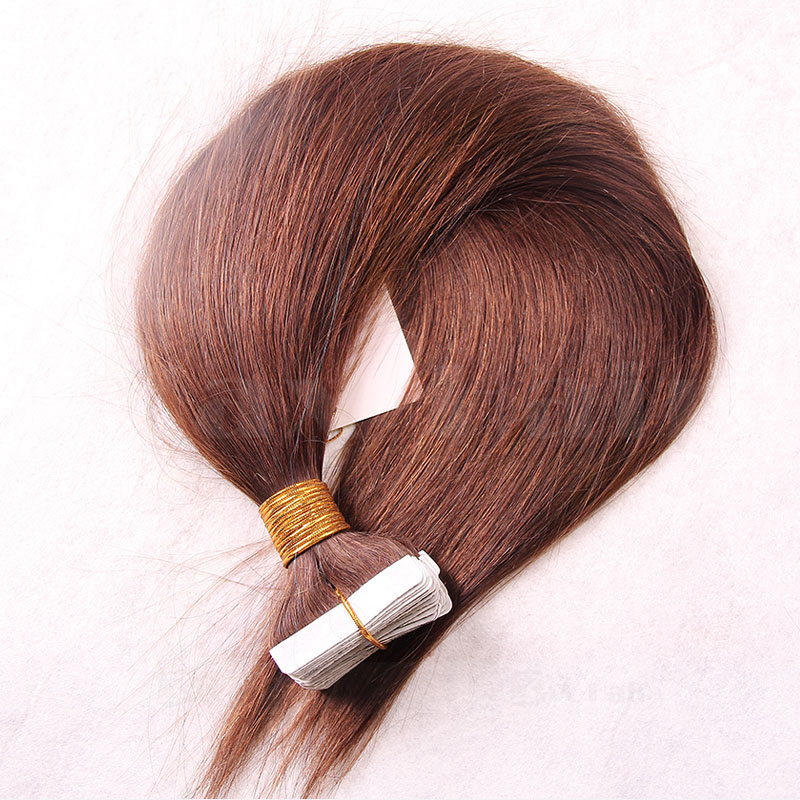 10 - 30 Inch Tape In Human Hair Extensions #6 Light Brown Straight 20 Pcs 5