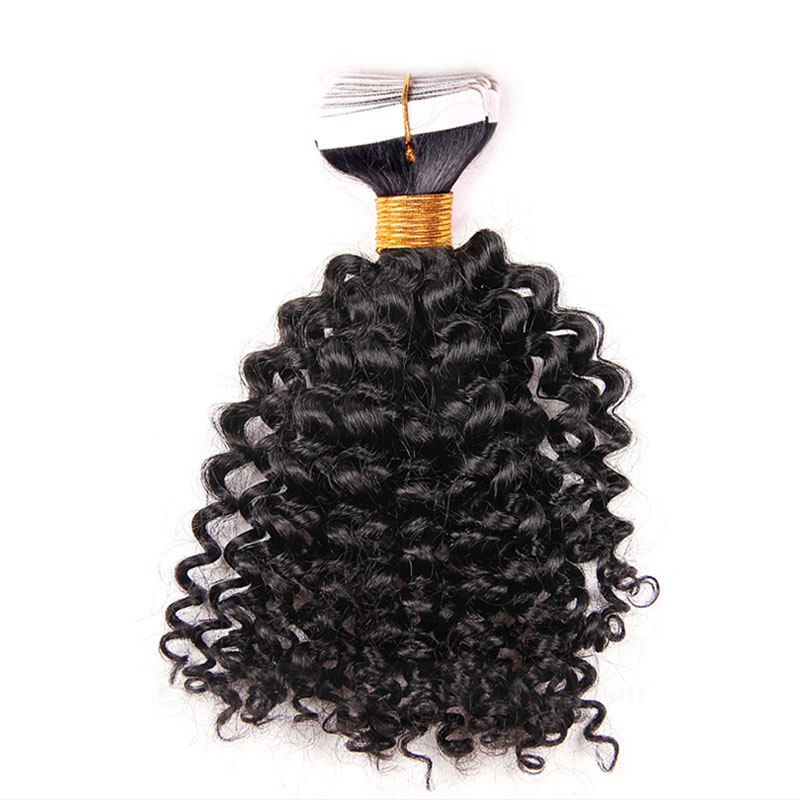 10 - 30 Inch Tape In Remy Human Hair Extensions  #1B Natural Black Afro Curl 20 Pcs