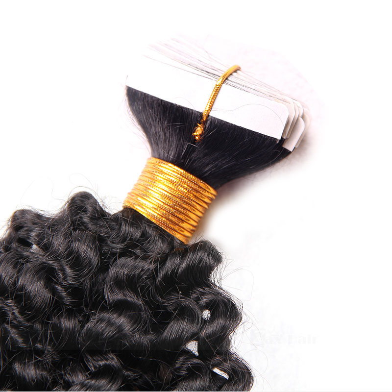 10 - 30 Inch Tape In Remy Human Hair Extensions  #1B Natural Black Afro Curl 20 Pcs 3