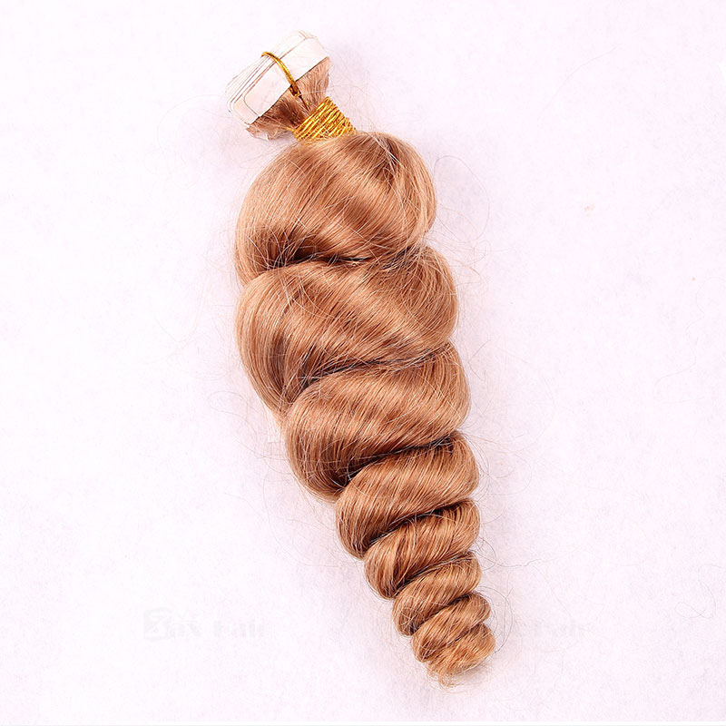10 - 30 Inch Tape In Remy Human Hair Extensions #27 Strawberry Blonde Spiral 20 Pcs