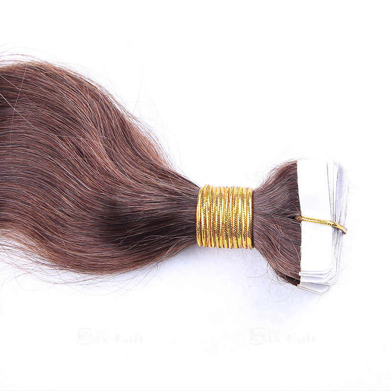 10 - 30 Inch Tape In Remy Human Hair Extensions #4 Medium Brown Body Wave 20 Pcs 1