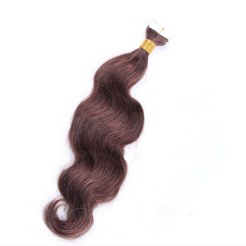 10 - 30 Inch Tape In Remy Human Hair Extensions #4 Medium Brown Body Wave 20 Pcs 4