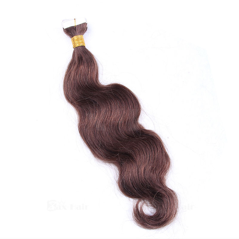 10 - 30 Inch Tape In Remy Human Hair Extensions #4 Medium Brown Body Wave 20 Pcs 5