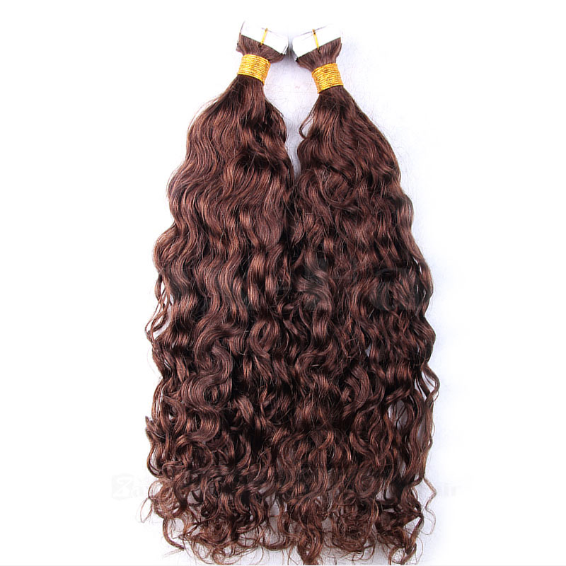 10 - 30 Inch Tape In Remy Human Hair Extensions #4 Medium Brown Loose Wavy 20 Pcs 2
