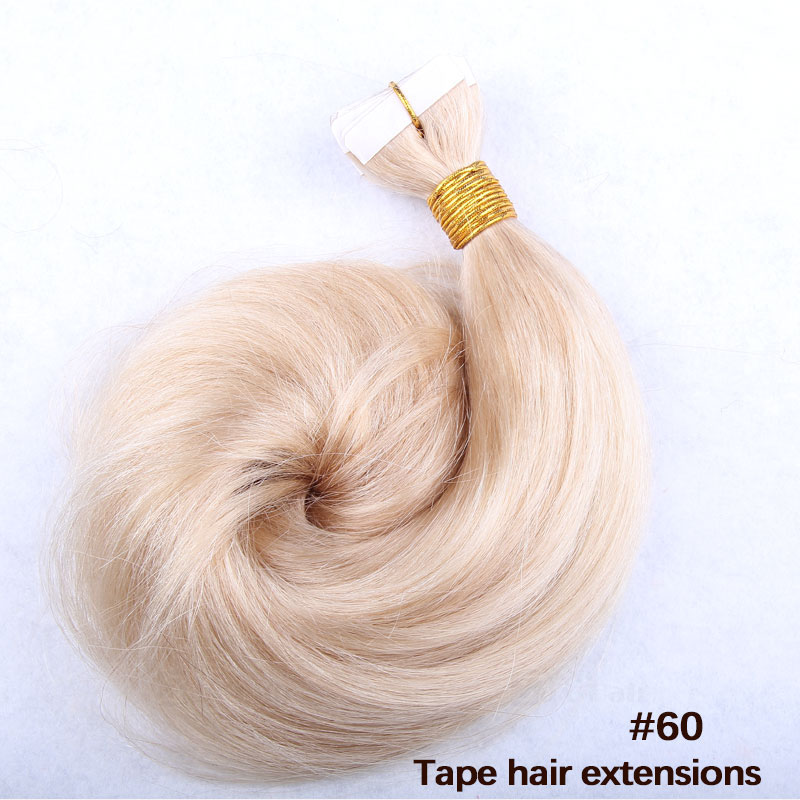 10 - 30 Inch Tape In Remy Human Hair Extensions #60 White Blonde Straight 20 Pcs 3