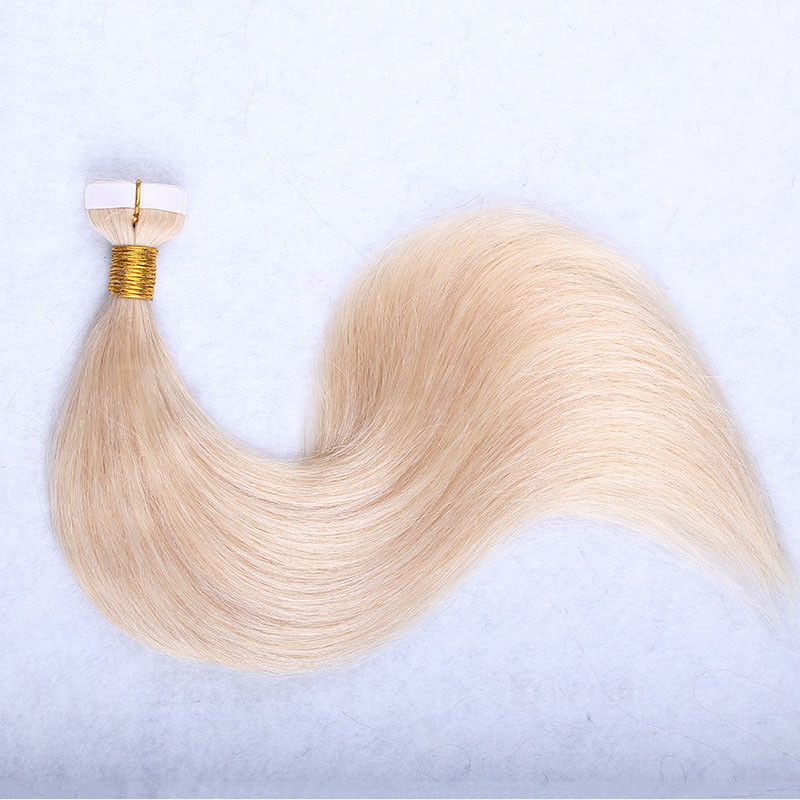 10 - 30 Inch Tape In Remy Human Hair Extensions #613 Bleach Blonde Straight 20 Pcs 0