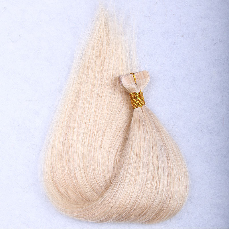 10 - 30 Inch Tape In Remy Human Hair Extensions #613 Bleach Blonde Straight 20 Pcs 1