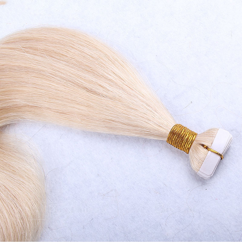 10 - 30 Inch Tape In Remy Human Hair Extensions #613 Bleach Blonde Straight 20 Pcs 4