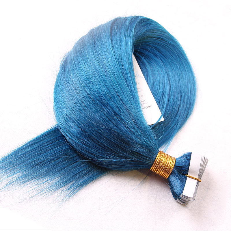 10 - 30 Inch Tape In Remy Human Hair Extensions Blue Straight 20 Pcs 0