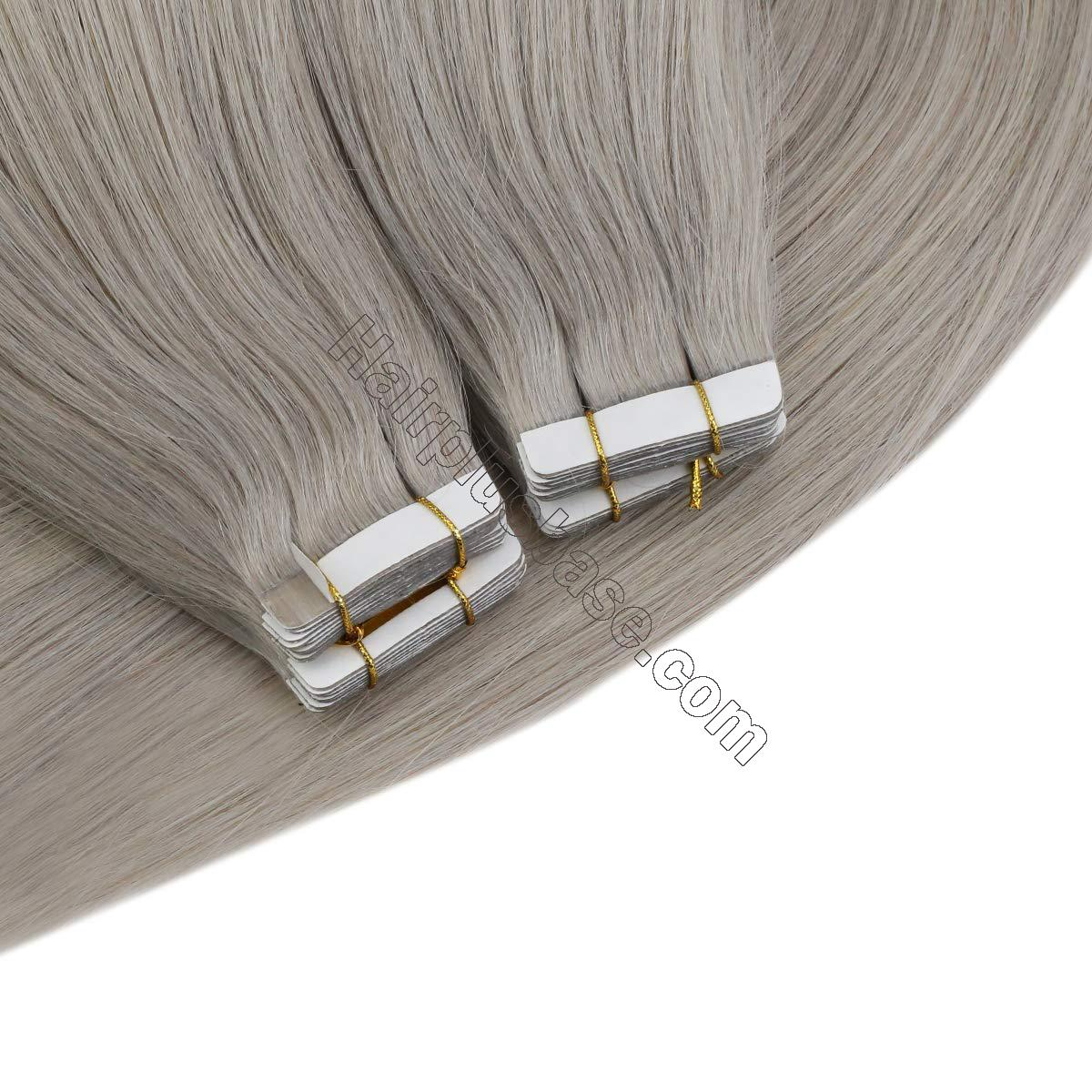 10 - 30 Inch Tape In Remy Human Hair Extensions Grey 20 Pcs 5