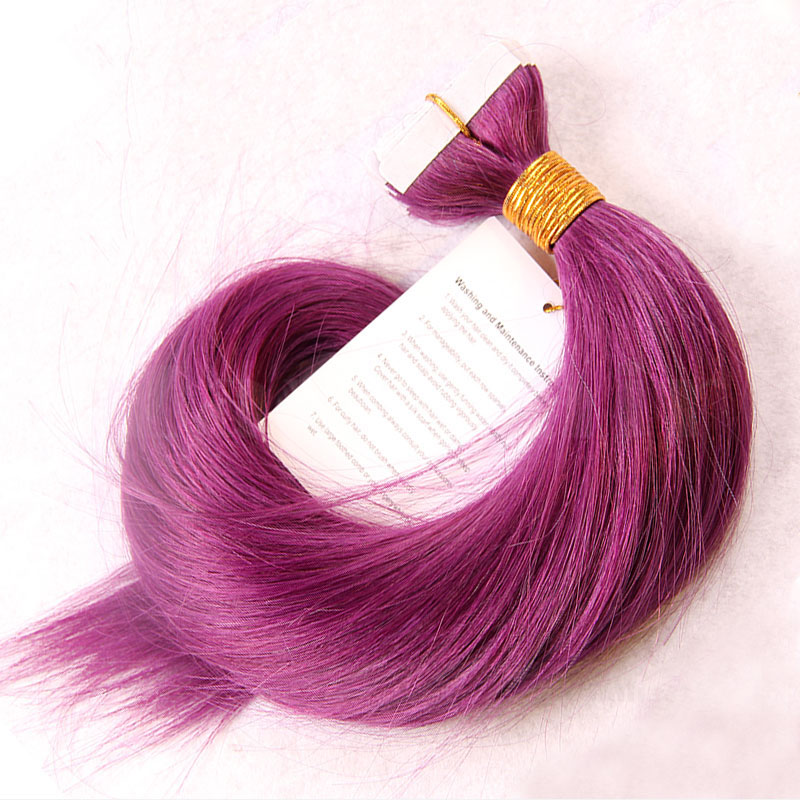 10 - 30 Inch Tape In Remy Human Hair Extensions Purple Straight 20 Pcs