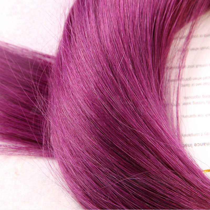 10 - 30 Inch Tape In Remy Human Hair Extensions Purple Straight 20 Pcs 3