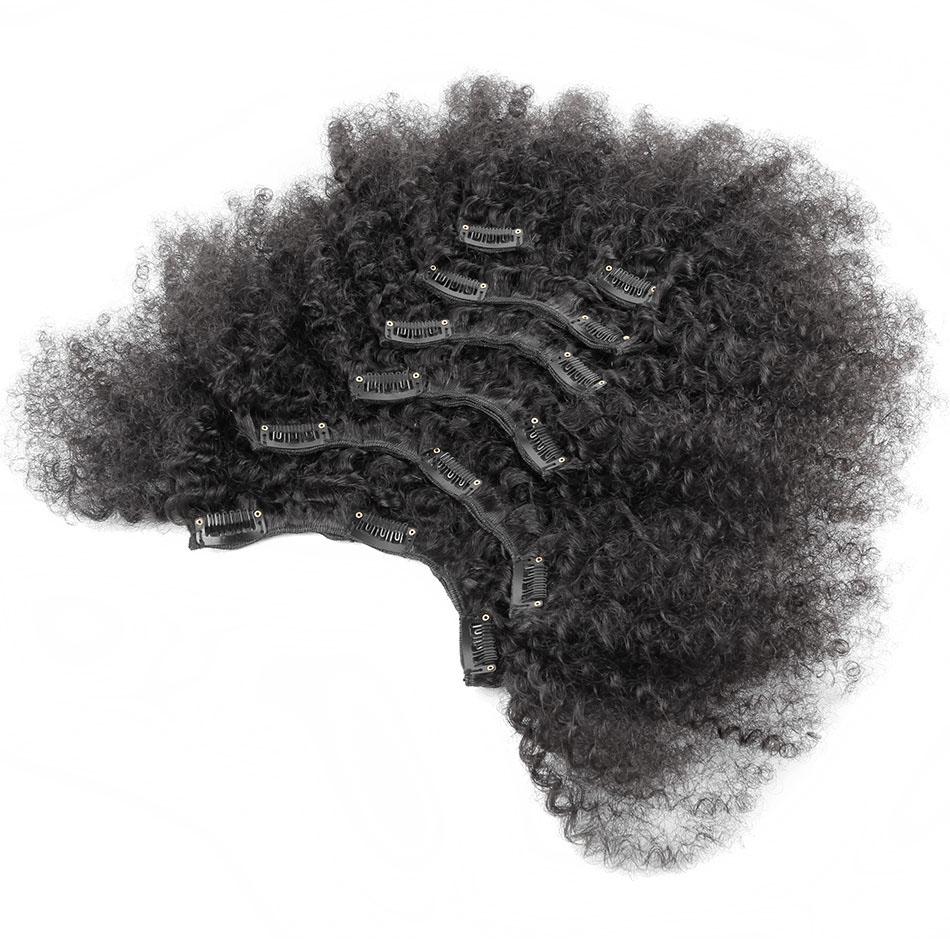10 - 32 Inch Brazilian Virgin Kinky Curly Clip In Human Hair Extensions #1B Natural Black 0