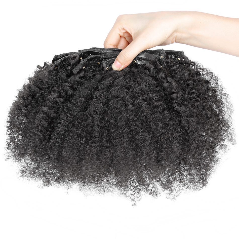 10 - 32 Inch Brazilian Virgin Kinky Curly Clip In Human Hair Extensions #1B Natural Black 4