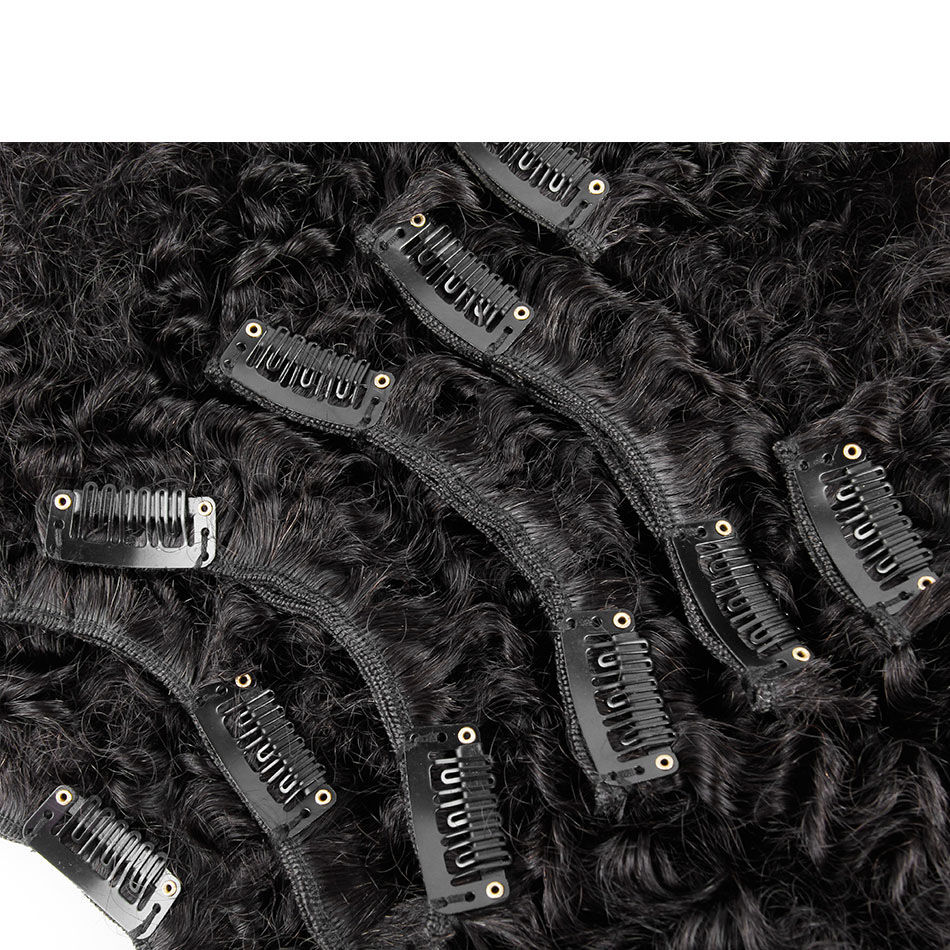 10 - 32 Inch Brazilian Virgin Kinky Curly Clip In Human Hair Extensions #1B Natural Black 5