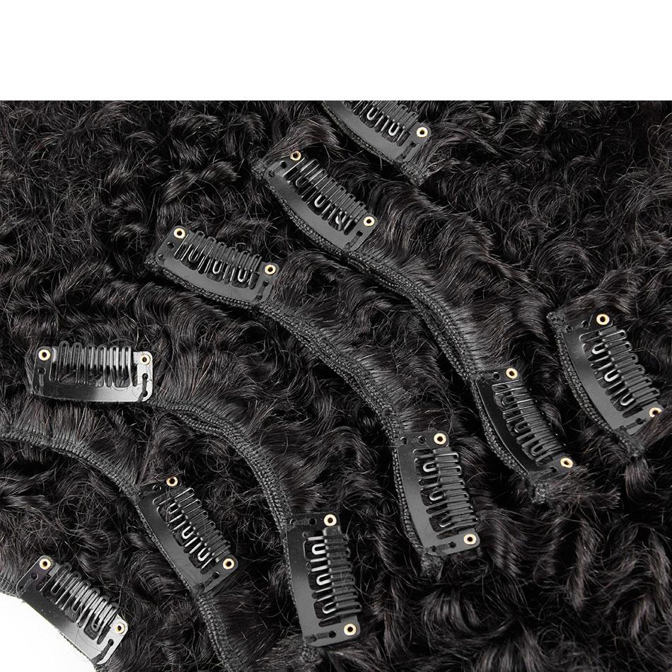 10 - 32 Inch Brazilian Virgin Kinky Curly Clip In Human Hair Extensions #1B Natural Black 5
