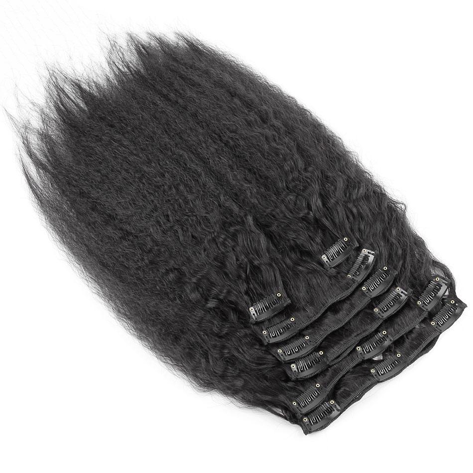 10 - 32 Inch Brazilian Virgin Kinky Straight Clip In Hair Extensions #1B Natural Black 1